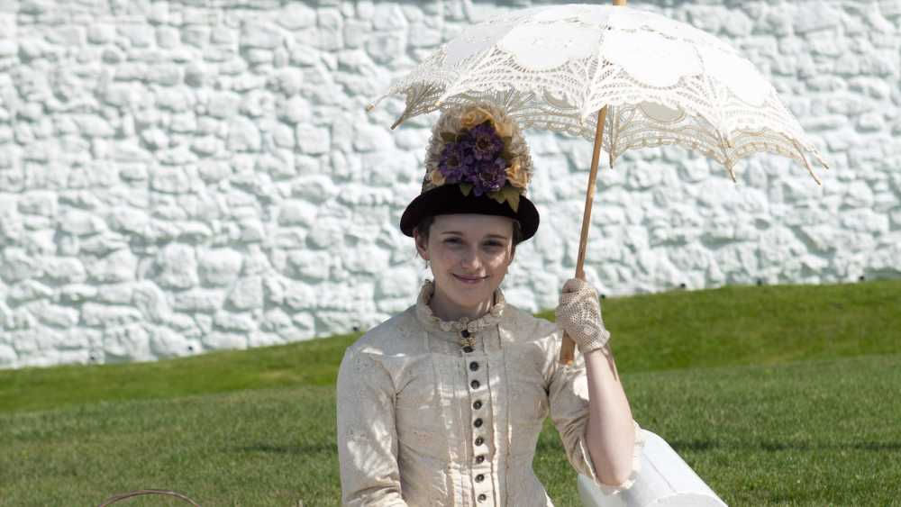 A Victorian Lady waiting to greet guests at Fort Mackinac.