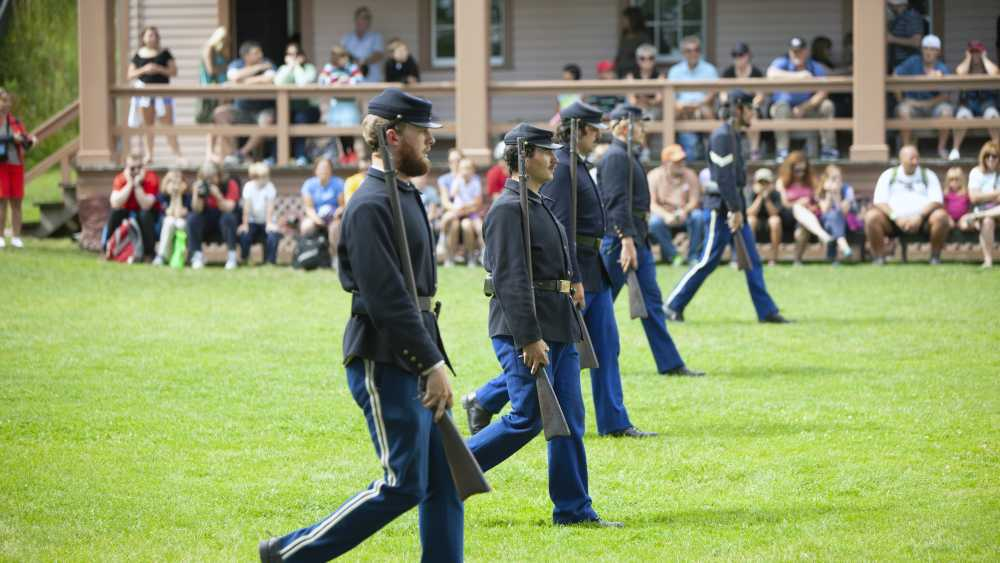 Fort Mackinac soldiers in formation.