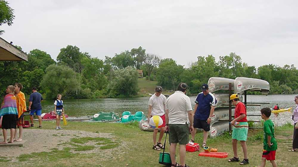 Canoe rental at Island Lake Recreation Area.