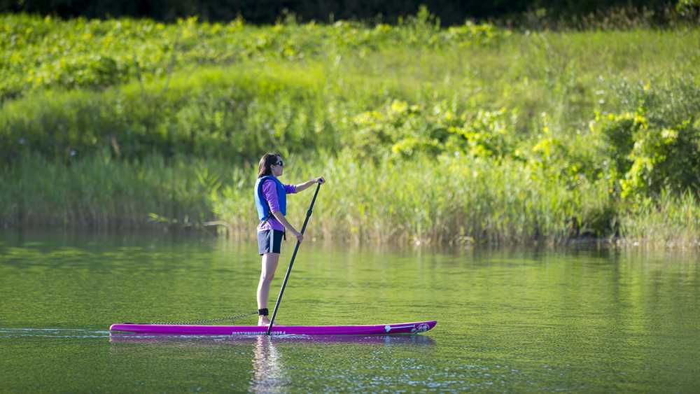 A woman paddle boarding at Island Lake Recreation Area