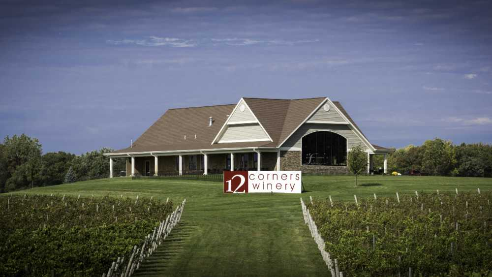 Vineyard view of tasting room. Also seen from I 94 and 96.