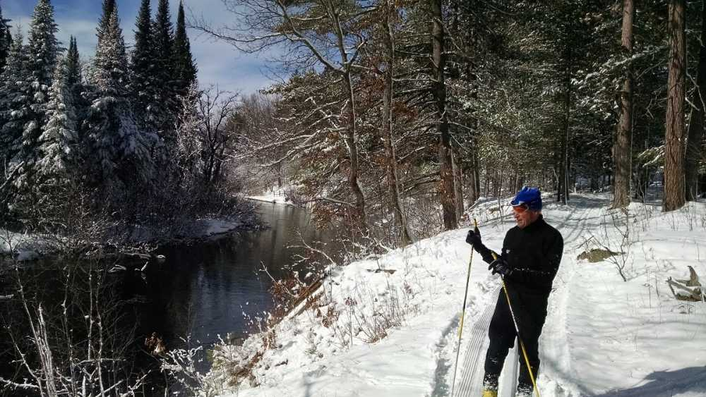 Cross country skier on the Iron Belle Trail