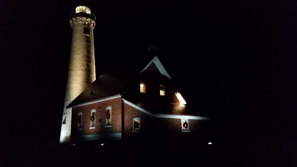 Tawas Point Lighthouse decorated for Christmas