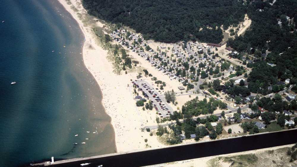 Aerial view of Mears State Park and canal