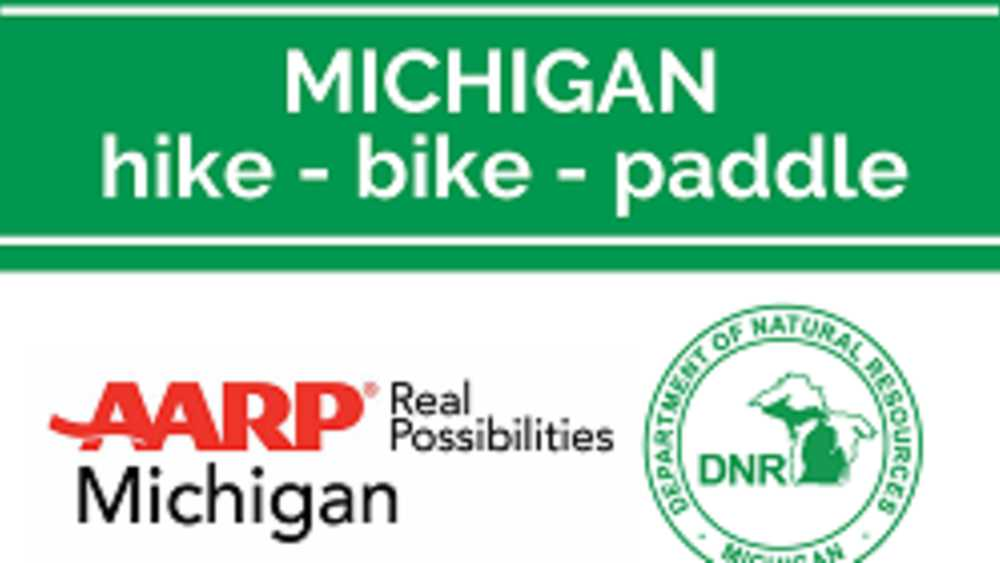 DNR, AARP Michigan Hike-Bike-Paddle Logo