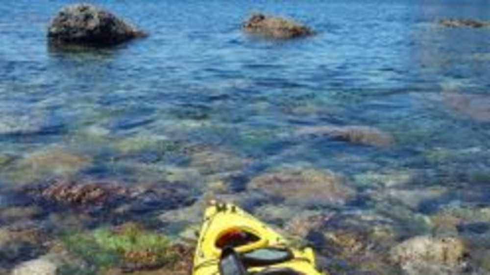 Kayak in rocky water