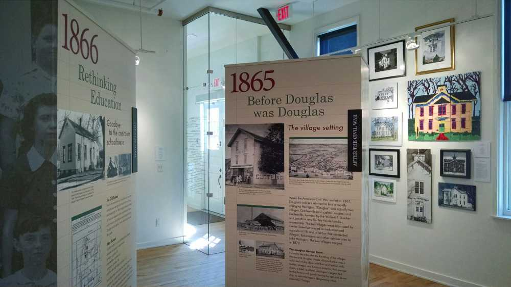 The Old School House exhibit discusses the building of the school and its 150 year history.