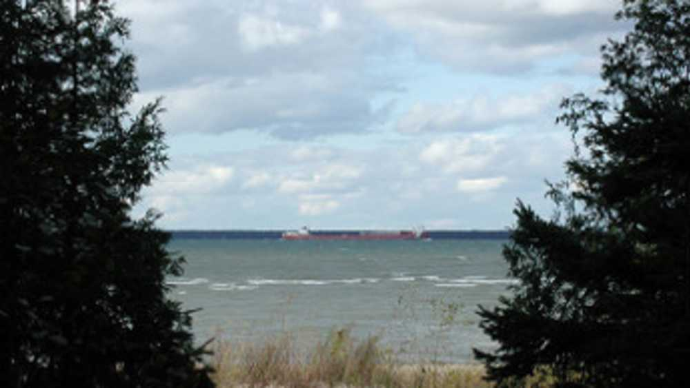 A ship passes by on Lake Huron