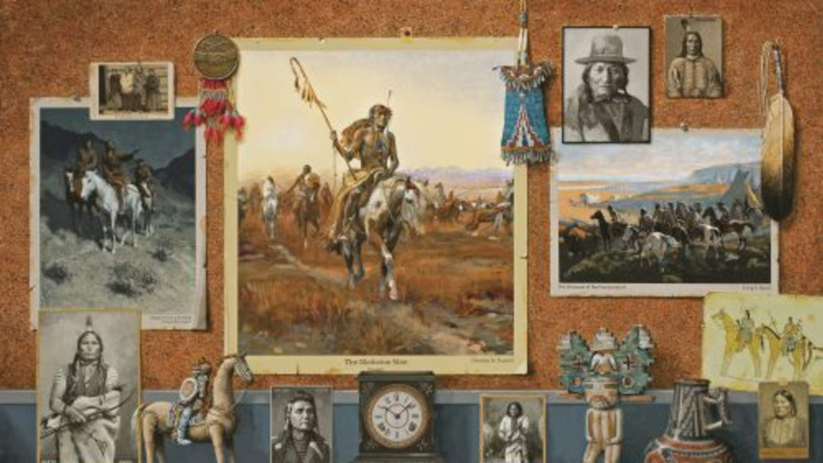 Jenness Cortez (1944- )  Native Voices acrylic on mahogany panel 30 x 40	  Estimate: $100,000 to $130,000
