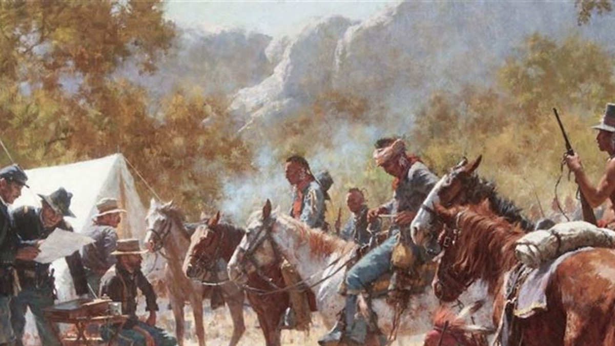 Howard Terpning (1927- ) Major North and the Pawnee Battalion oil on canvas 36 x 58  Estimate: $800,000 to $1,200,000