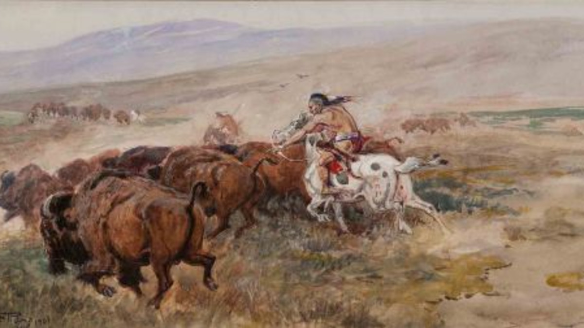 Charles M. Russell (1864-1926) Buffalo Hunt, 1901 watercolor on paper 8.25 x 16.75  Estimate: $900,000 to $1,500,000