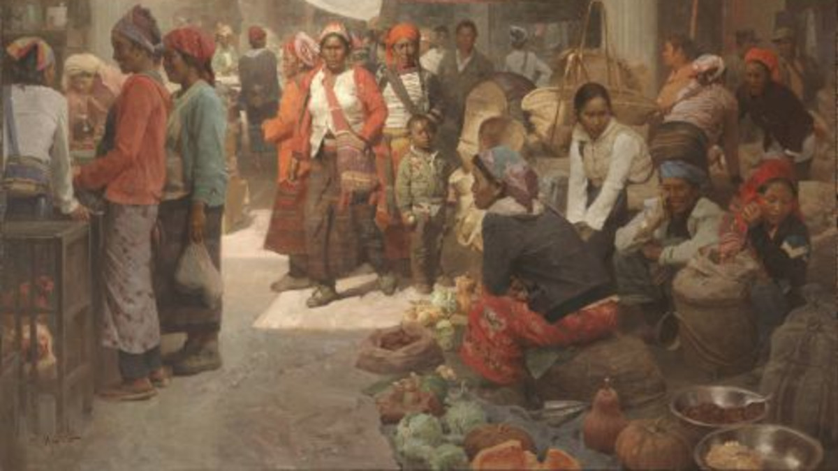 Mian Situ (1953- ) New Marketplace, Yunnan, China, 2014 oil 40 x 50  Estimate: $50,000 to $60,000