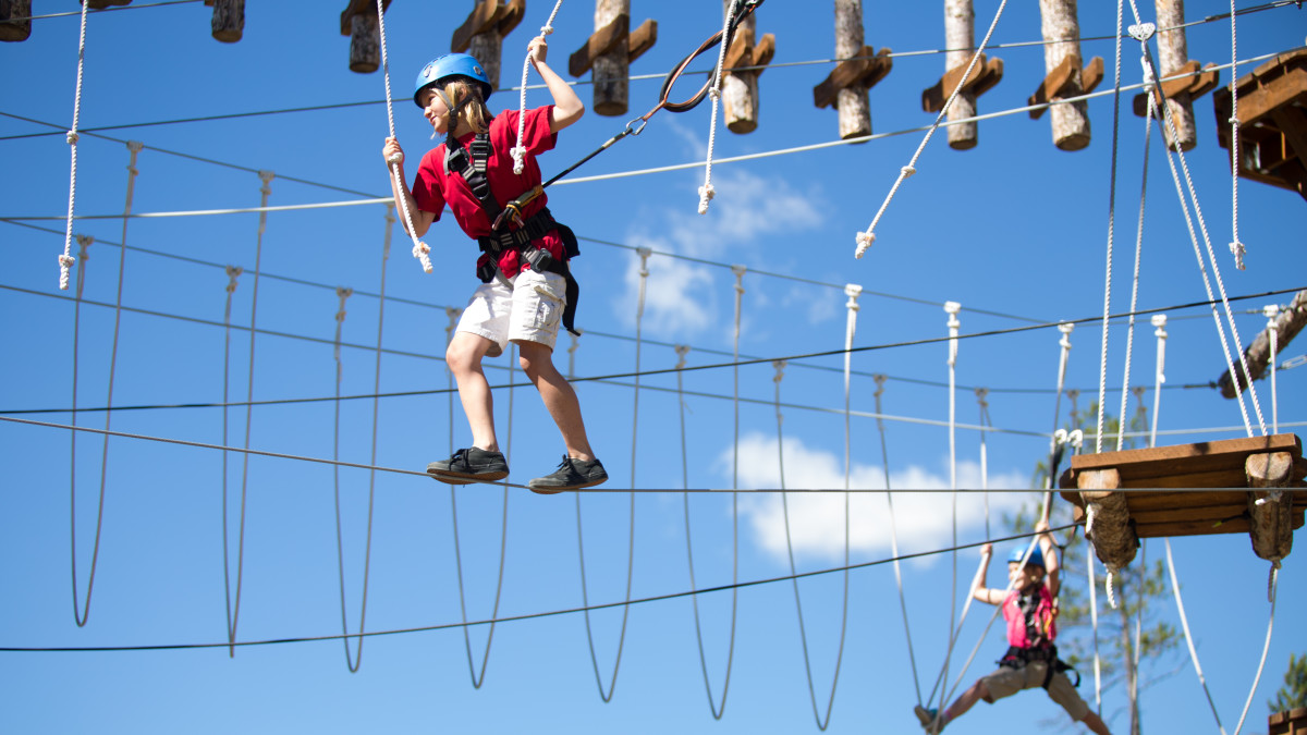 Test your resilience on the Ropes course.