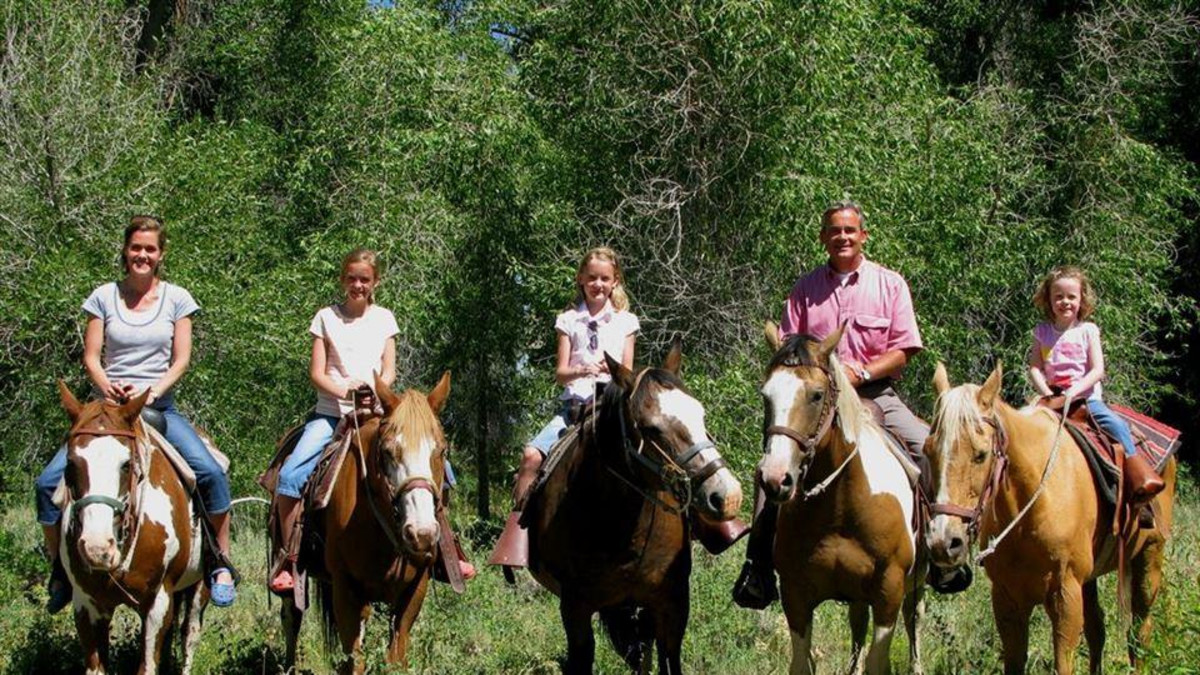 Family photo on a trail ride.
