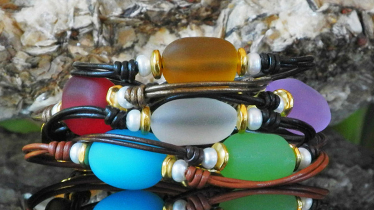 Sea Glass and Pearl Bracelets on Leather