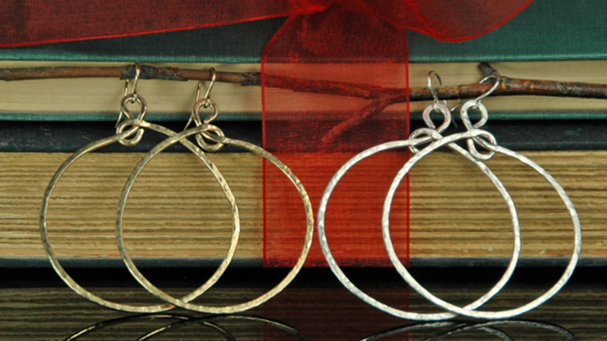Large Hammered Hoop Earrings in Sterling Silver and Gold