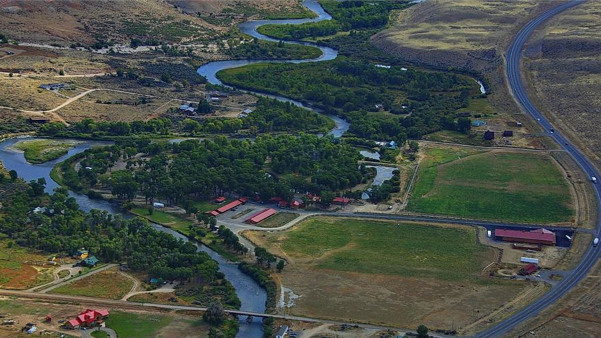 Longhorn Ranch Lodge & RV Resort, aerial, Dubois, Wyoming