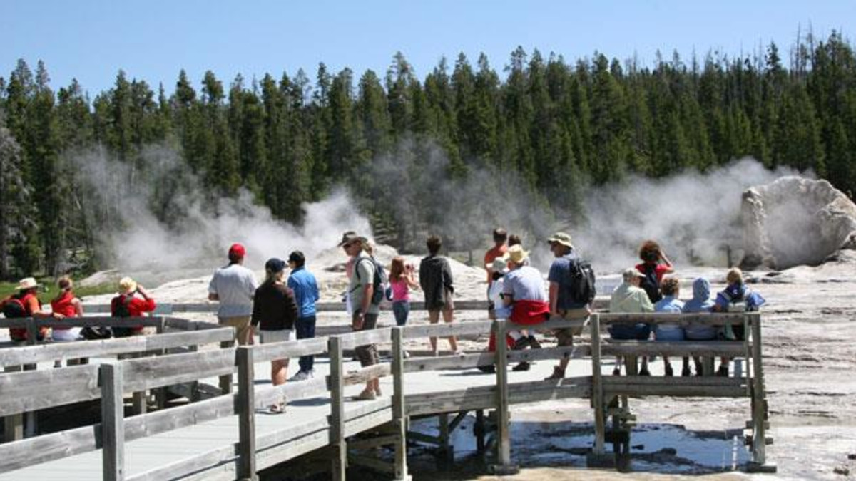 spectators waiting at the geysers