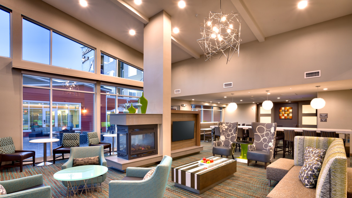 Relax outside your suite in our modern, spacious lobby.