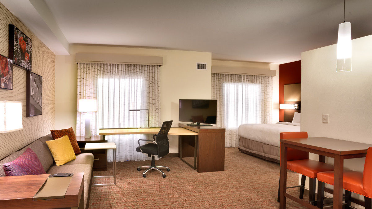 Stay productive in your suite at our over sized work desk with plenty of ports, or relax with plenty of room to spread out on the pull out sofa while enjoying your favorite TV shows, movies and streaming options on our internet TVs.