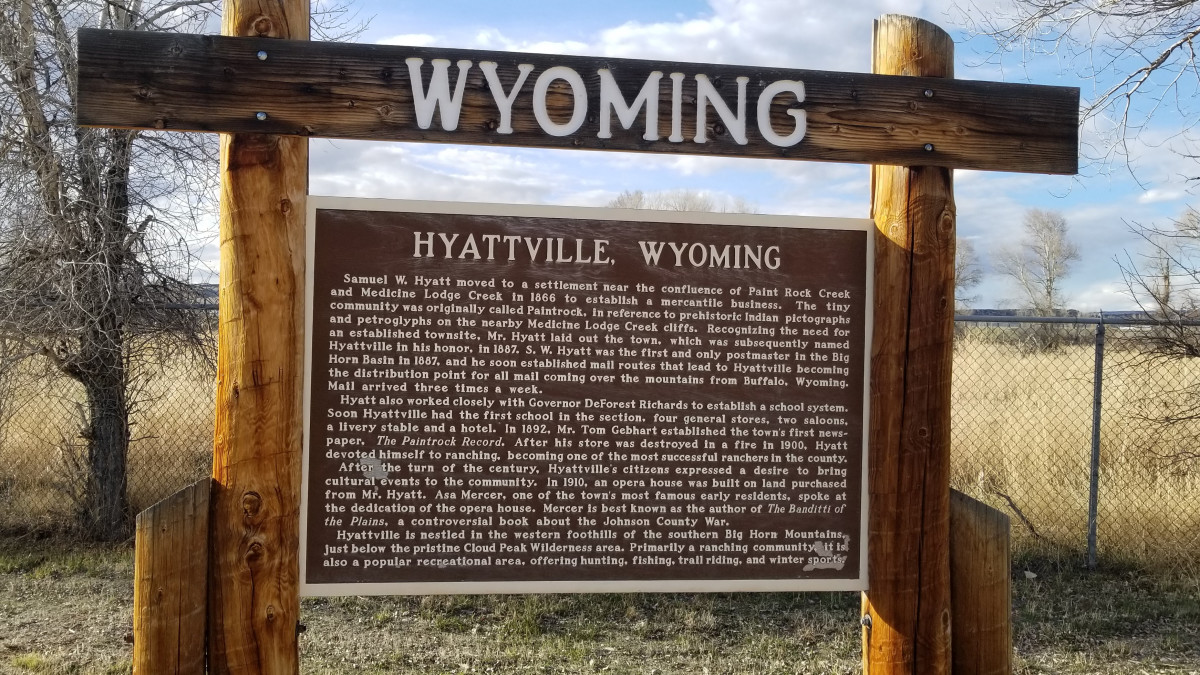 Hyattville, Wyoming historic sign at the Hyattville Community Center