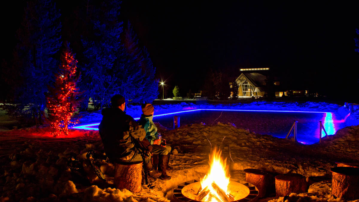Old Faithful Snow Lodge Ice Rink by Fire Winter