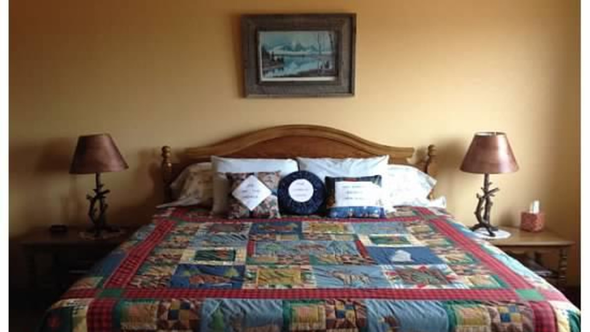 Guest room has king size bed