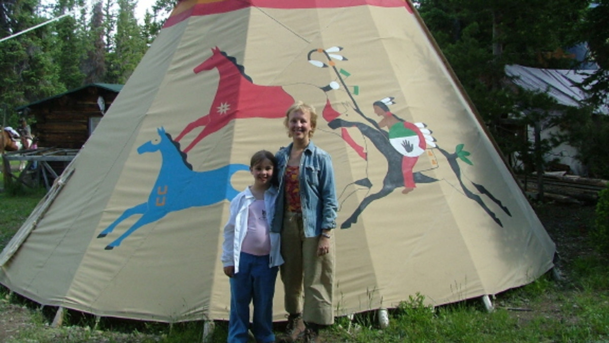 Furnished teepees and tents for overnight horseback adventures