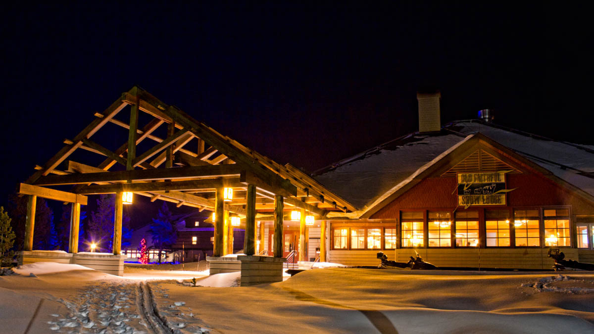 Old Faithful Snow Lodge Exterior Winter Night
