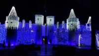 The front of the Castle in Canadian Lakes during Nights of Lights