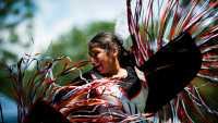 Dancer performing at the Pow Wow.