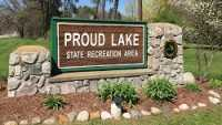 DNR, Proud Lake State Park, sign, spring