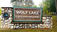 Wolf Lake State Fish Hatchery Sign