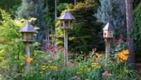 flower garden with birdhouses