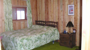 One of cabin's three, quiet and cozy bedrooms