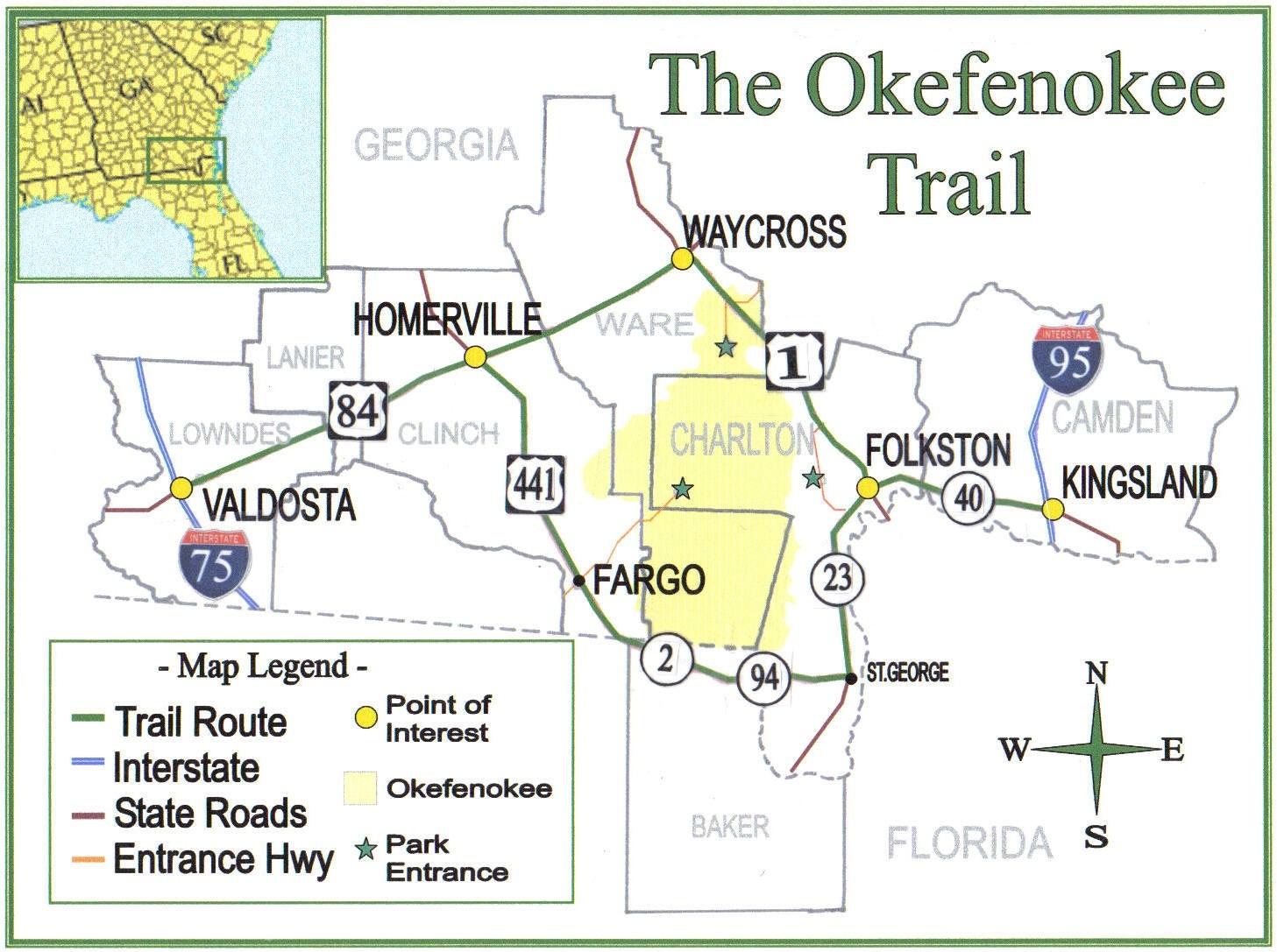 Map Of Kingsland Georgia.The Okefenokee Trail Official Georgia Tourism Travel Website