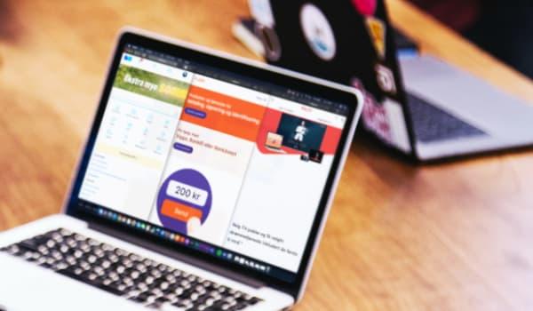 laptop bilde med skjermdump fra vipps, finn og rikstv