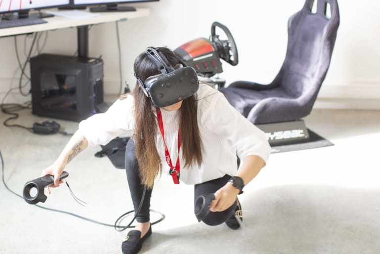 Woman playing VR