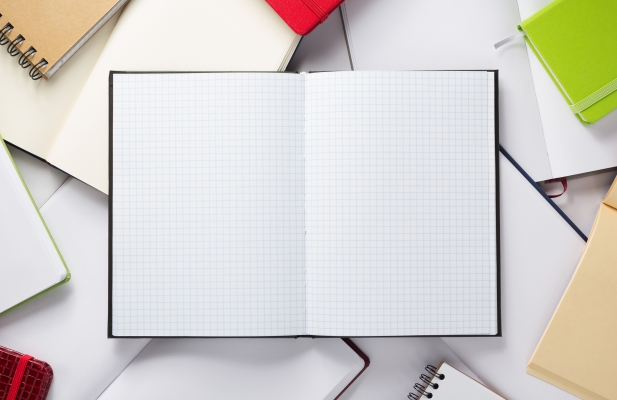 open notebook or book with empty pages, top view