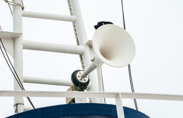 Megaphone  on the roof of the ship's deckhouse.