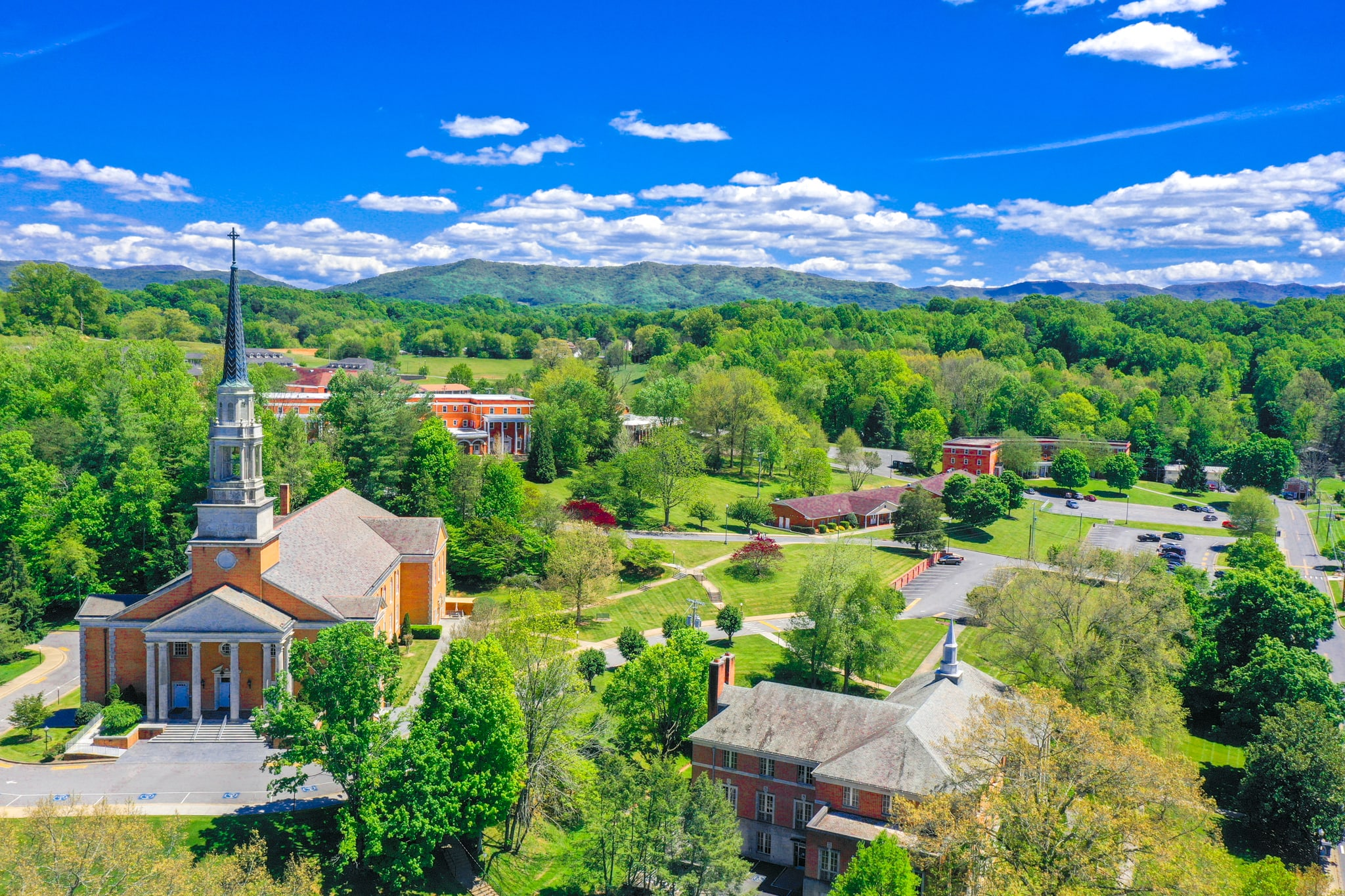 An overlook shot of campus focused on Seeger Chapel