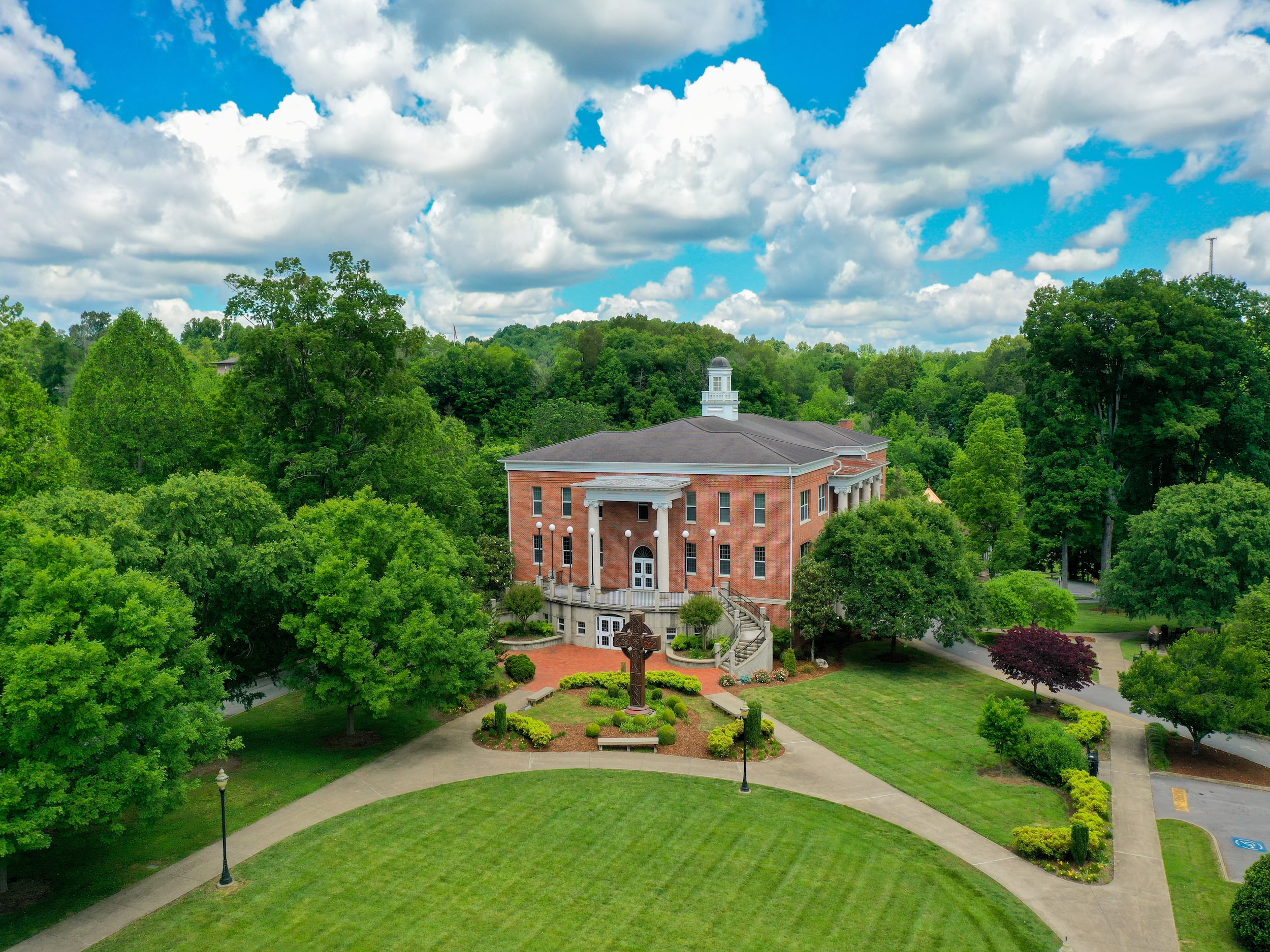 Drone photography of Milligan's Derthick Hall