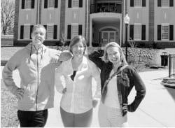 Tony Duncan/Johnson City Press<br /> L-R, Christian Brewer, junior; Kristal Dove, professor; and Courtney Blair, junior