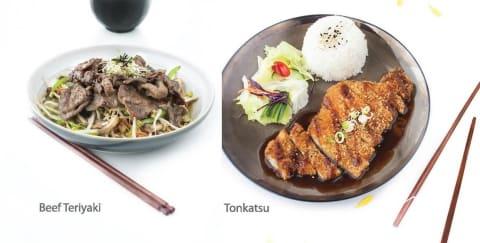 Beef Teriyaki and Tonkatsu