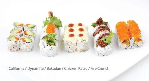 California, Dynamite, Bakudan, Chicken Katsu, and Fire Crunch Roll