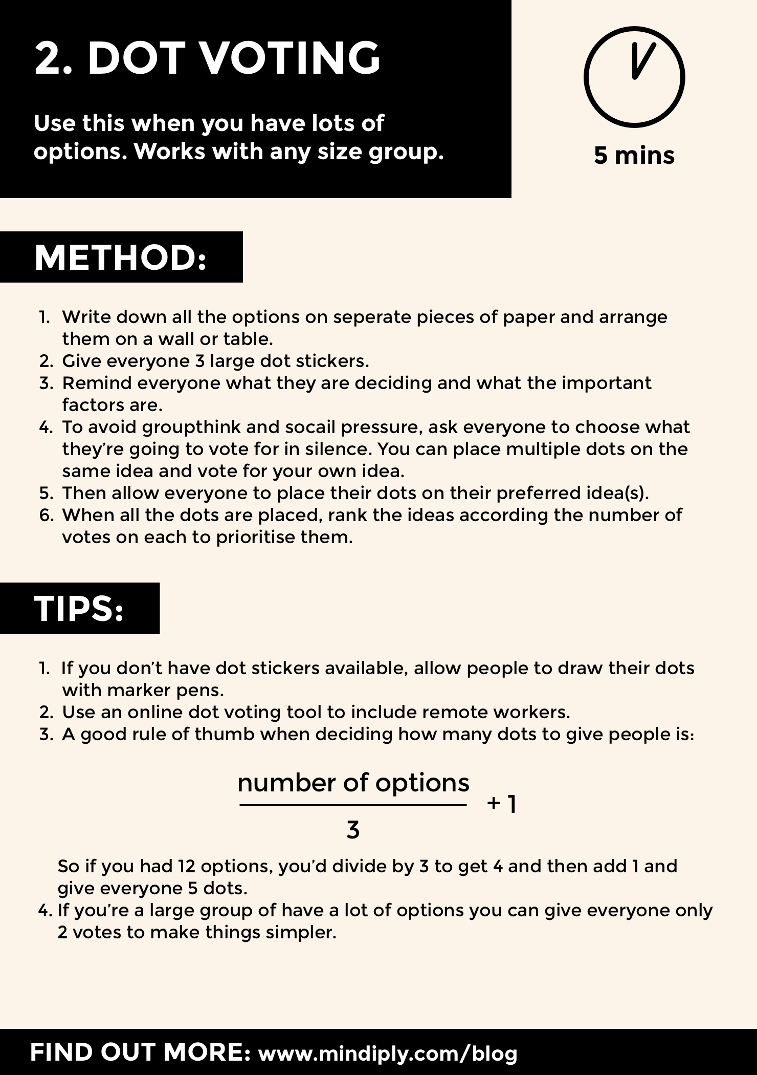 Dot voting method reference card - page 1