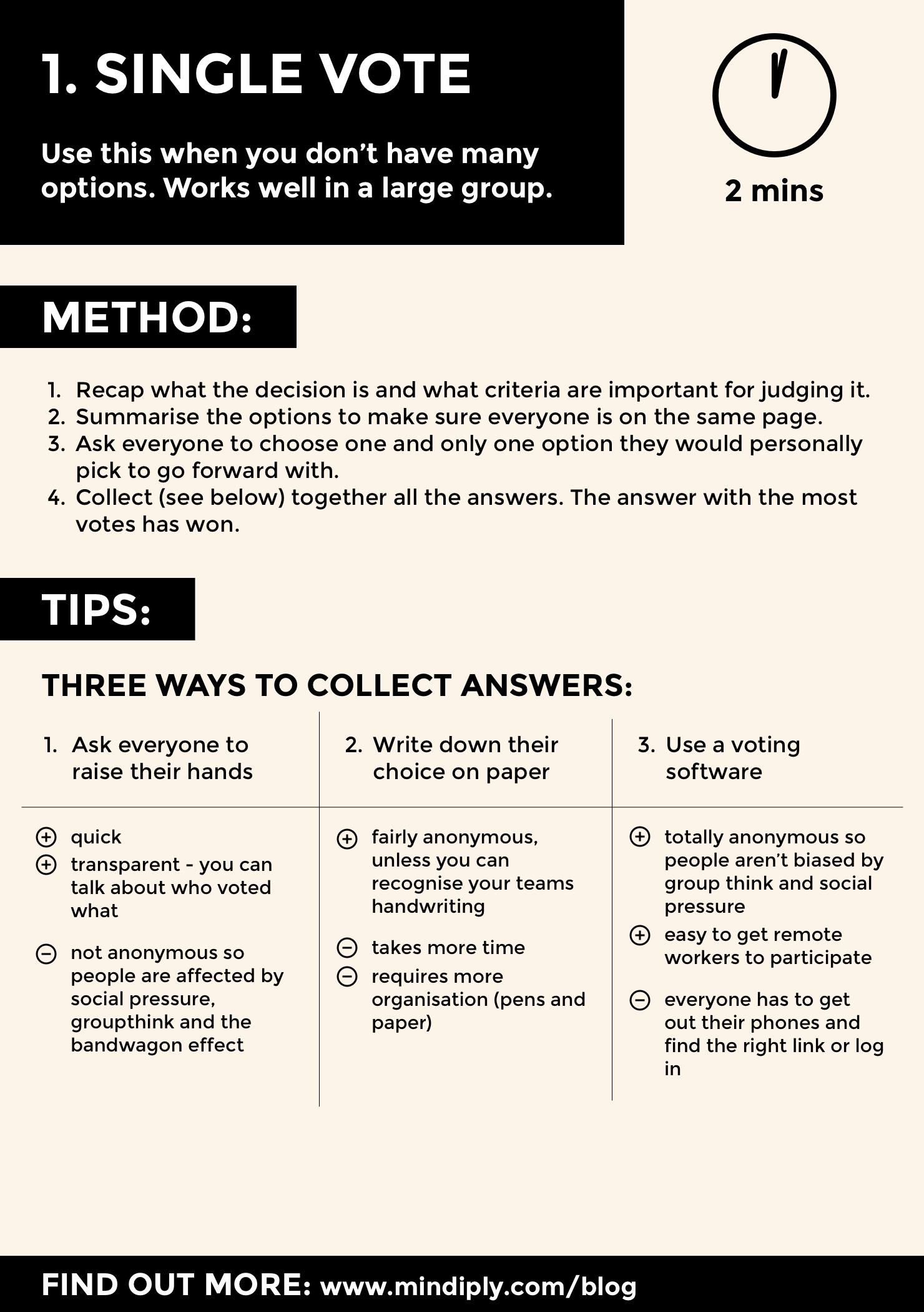 Single vote decision technique infographic - page 1