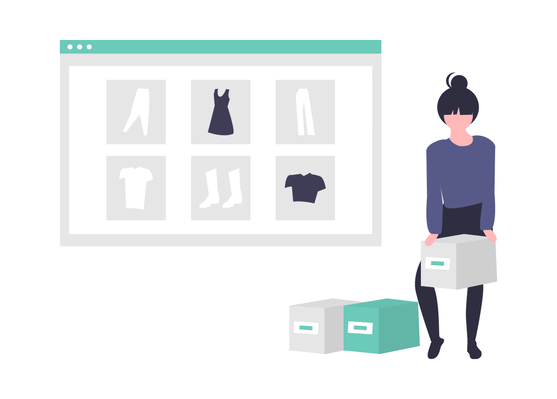 Cartoon woman next to webpage with shirts