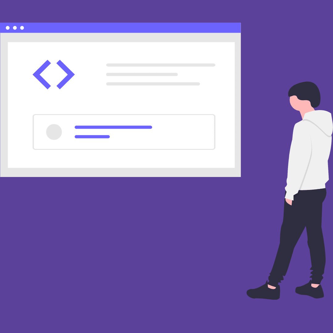 Purple background and cartoon man staring at screen with div showing