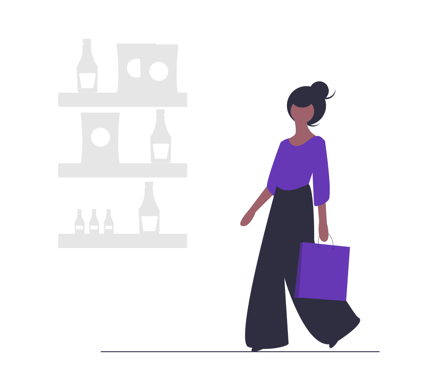 A dark skinned woman cartoon with a purple shirt is shopping
